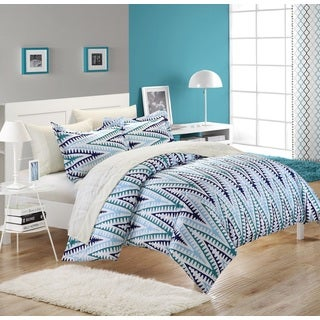 Chic Home Selenio King Size White/ Blue 3-piece Duvet Cover Set