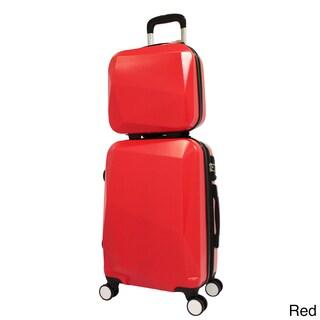 World Traveler Diamond 2-Piece Carry-on Spinner Luggage Set (Option: Red)