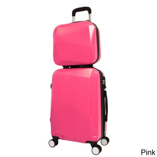World Traveler Diamond 2-Piece Carry-on Spinner Luggage Set (Option: Pink)