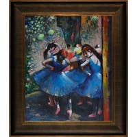 Edgar Degas 'Dancers in Blue' Hand Painted Framed Canvas Art