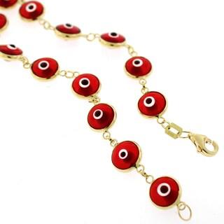 14k Yellow Gold 7.5mm Red Evil Eye Good Luck Bracelet