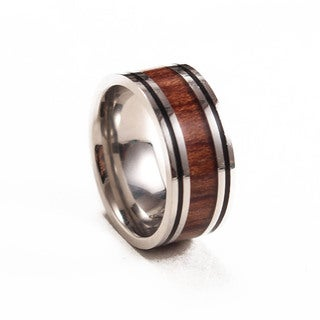 Something Strong Men's Stainless Steel Grooved Ring