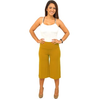 Women's Foldover Waist Bright Colors Gaucho Pants