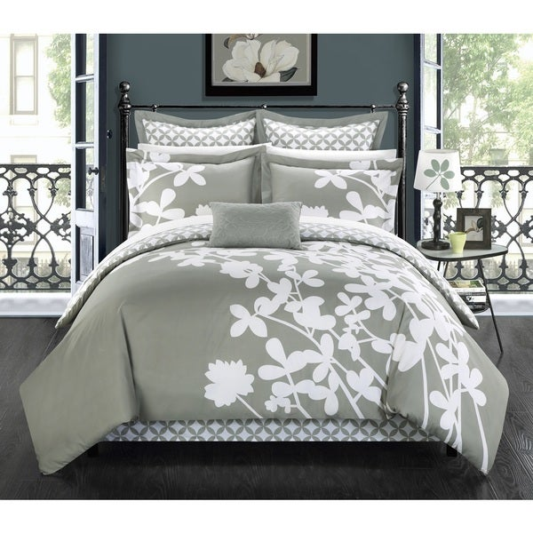 Chic Home Ayesha Grey Reversible 11-piece Bed in a Bag with Sheet Set