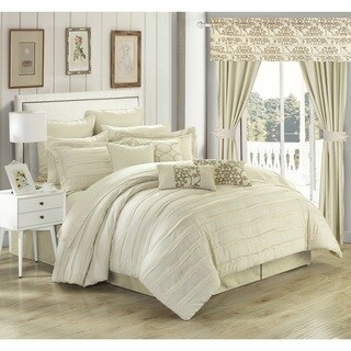 Olivier Beige Pinch-Pleat Microfiber 24-piece Bed in a Bag with Sheet Set