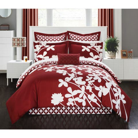 Chic Home Ayesha Reversible Red 11-piece Bed in a Bag with Sheet Set