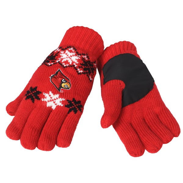 Forever Collectibles Louisville Cardinals Lodge Gloves with Padded Palms