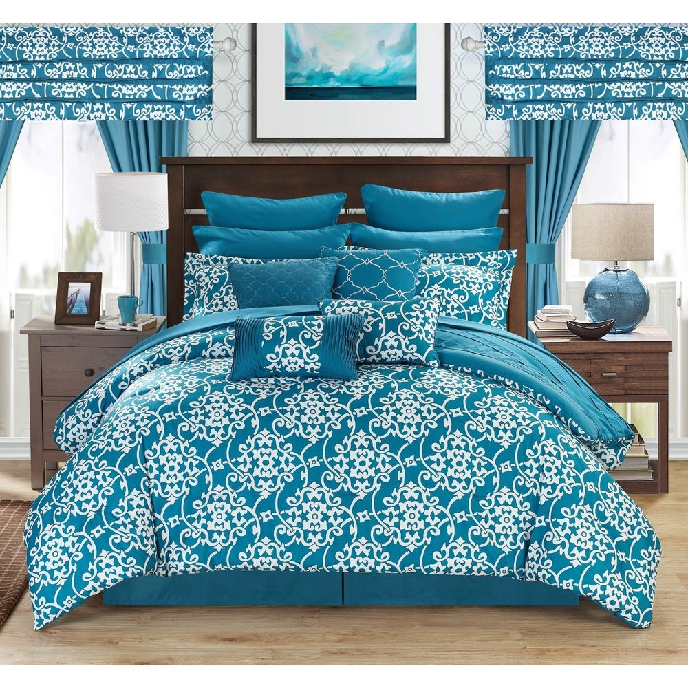 Shop Copper Grove Josie Teal 24-piece Bed in a Bag with Sheet Set - Overstock - 19972801