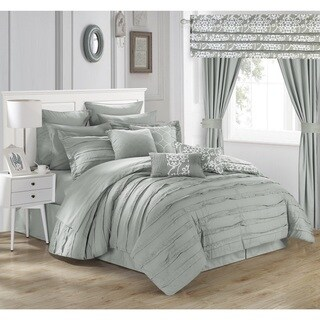 Olivier Silver Microfiber 24-piece Bed in a Bag with Sheet Set (Option: Silver)