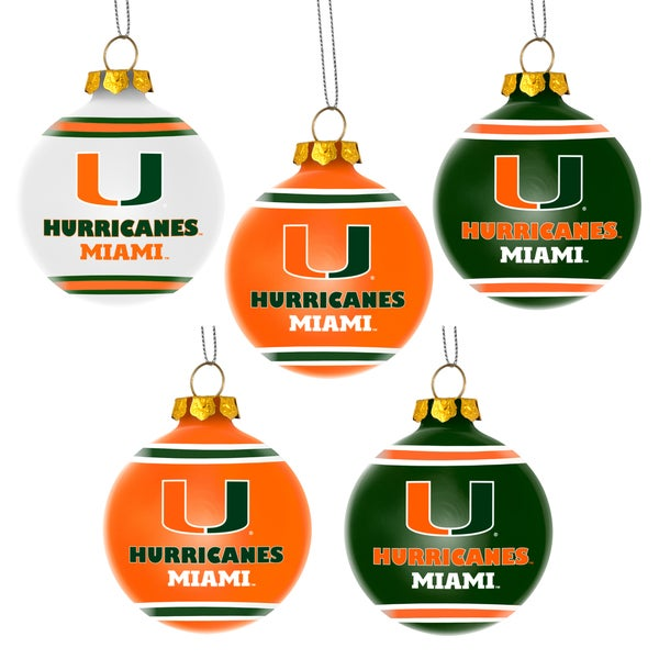Forever Collectibles Miami Hurricanes Shatterproof Ball Ornament Set