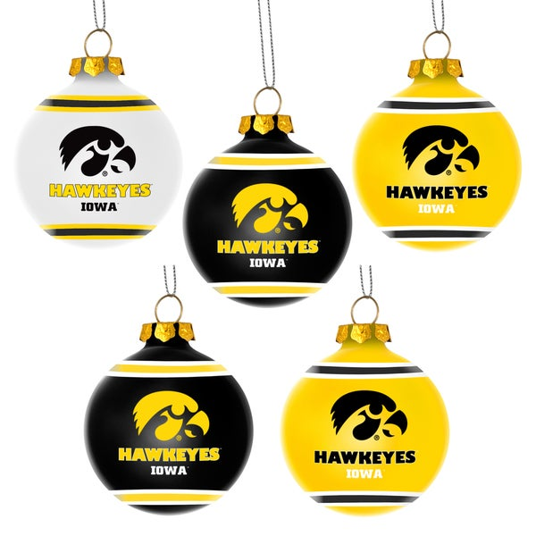 Forever Collectibles Iowa Hawkeyes Shatterproof Ball Ornament Set