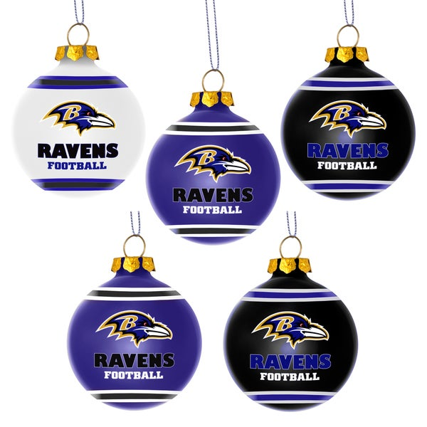 Forever Collectibles Baltimore Ravens Shatterproof Ball Ornament Set