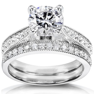 Annello by Kobelli 14k White Gold Forever One Moissanite and 1/3ct TDW Diamond Bridal Set
