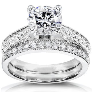 Annello by Kobelli 14k White Gold 1 1/3ct TGW Round Forever One DEF Moissanite and Diamond Antique Bridal Set