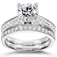 Annello by Kobelli 14k White Gold 1 1/3ct TGW Round Forever One DEF Moissanite and Diamond Antique Bridal Set