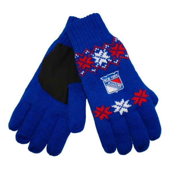 Forever Collectibles New York Rangers Lodge Gloves with Padded Palms