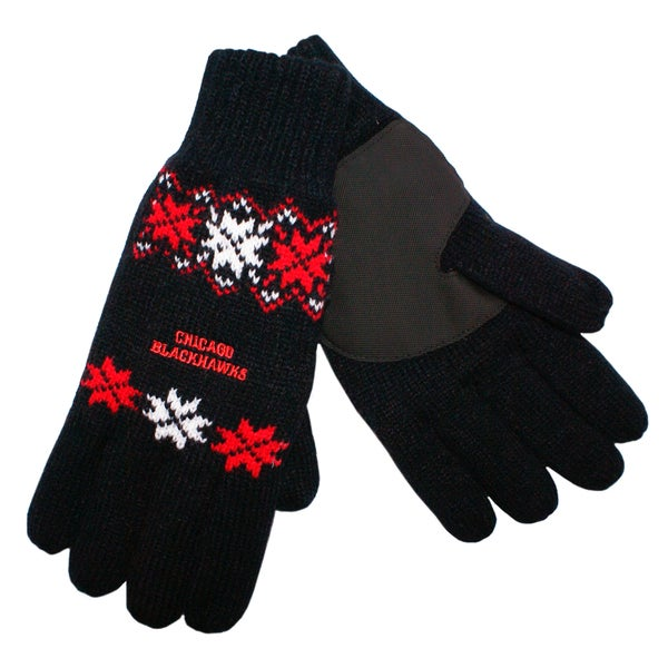 Forever Collectibles Chicago Blackhawks Lodge Gloves with Padded Palms