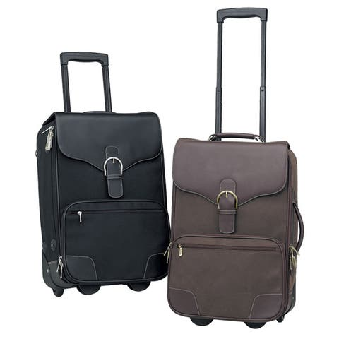 "Bellino Destination Leather 21-inch Rolling Carry On Upright Suitcase - 14"" x 21"" x 7.5"""