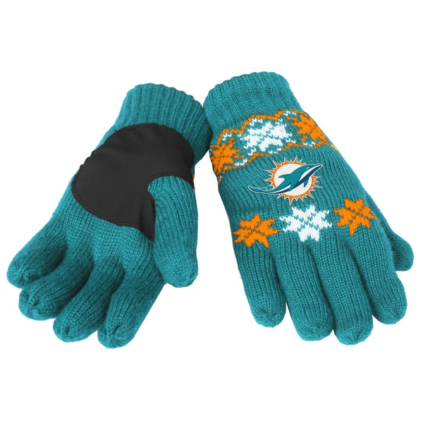 Forever Collectibles Miami Dolphins Lodge Gloves with Padded Palms