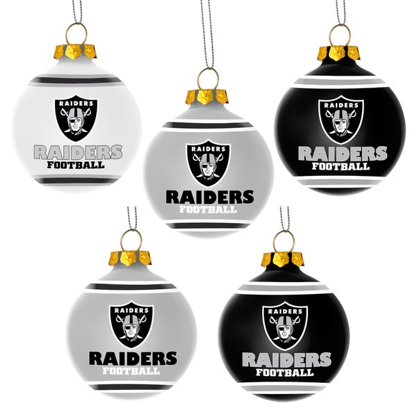 Forever Collectibles Oakland Raiders Shatterproof Ball Ornament Set