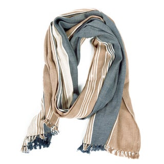 Handmade The Coed Blue and Hazelnut Cotton Scarf (India)