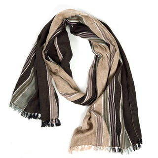 The Coed Brown and Tan Cotton Scarf (India)