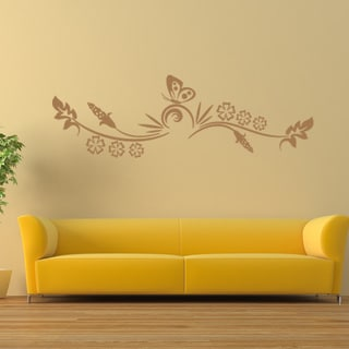 Butterfly Tendril Vinyl Mural Wall Decal
