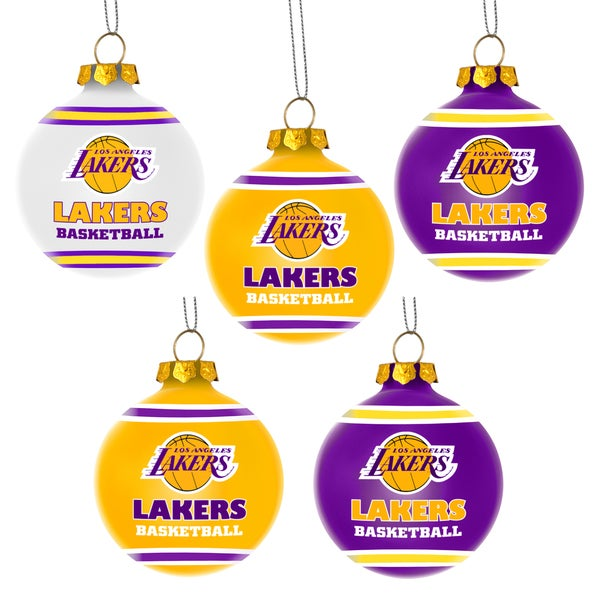Forever Collectibles Los Angeles Lakers Shatterproof Ball Ornament Set