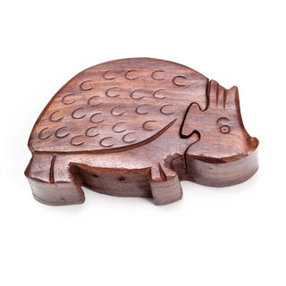 Handmade Hedgehog Puzzle Box (India)