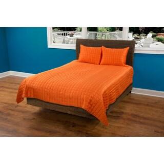 Rizzy Home Satinology Orange 3-piece Quilt Set