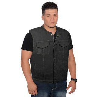Men's Collarless Denim Club Vest