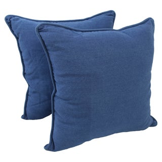 Blazing Needles 25-inch Corded Blue Denim Floor Pillows (Set of 2)
