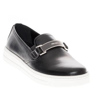 Prada Leather Logo Plated Slip-on Sneaker