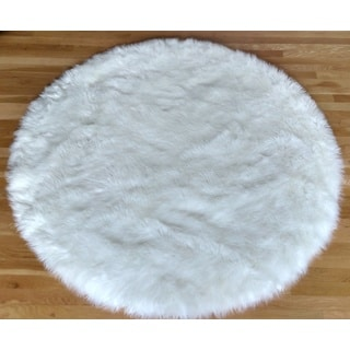 Faux Fur Sheepskin Shag Area Rug White (5'x5') Round