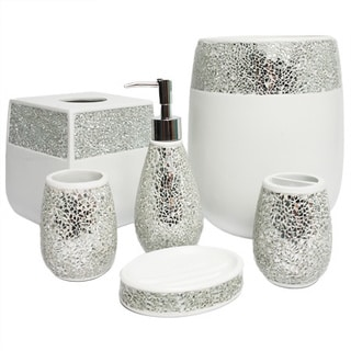 Silver Cracked Glass and Ivory Hand Crafted Bath Accessory Collection