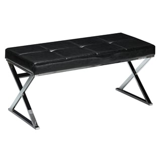 Cortesi Home Zio Contemporary Metal Entryway Black X- Bench/ Ottoman
