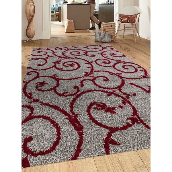Soft Cozy Contemporary Scroll Red Grey Indoor Shag Area