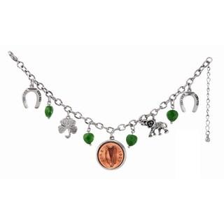 Silvertone Irish Penny Lucky Charm Bracelet