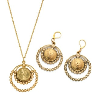 Goldtone Angel Coin Crystal Earrings and Pendant Boxed Gift Set