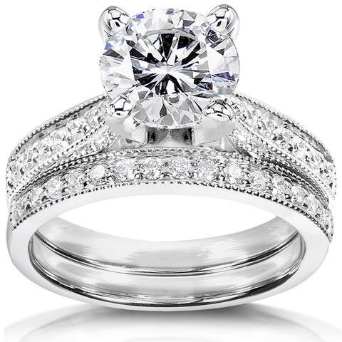 Annello by Kobelli 14k White Gold 2 1/4ct TGW Round Forever One DEF Moissanite and Diamond Antique Bridal Set