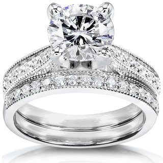 Annello by Kobelli 14k White Gold 2 1/4ct TGW Round Forever One DEF Moissanite and Diamond Antique Bridal Set