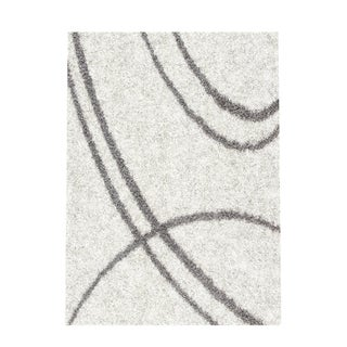 Soft Cozy Contemporary Stripe Cream White Indoor Shag Area Rug (5'3 x 7'3)