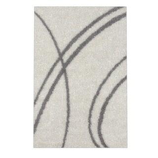 Soft Cozy Contemporary Stripe Cream White Indoor Shag Area Rug (3'3 X 5')