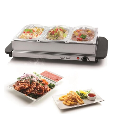 NutriChef PKBFWM33 Food Warming Tray / Buffet Server / Hot Plate Warmer