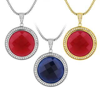 Men's Sterling Silver Round Checkerboard Cut Gemstone and Cubic Zirconia Necklace (More options available)