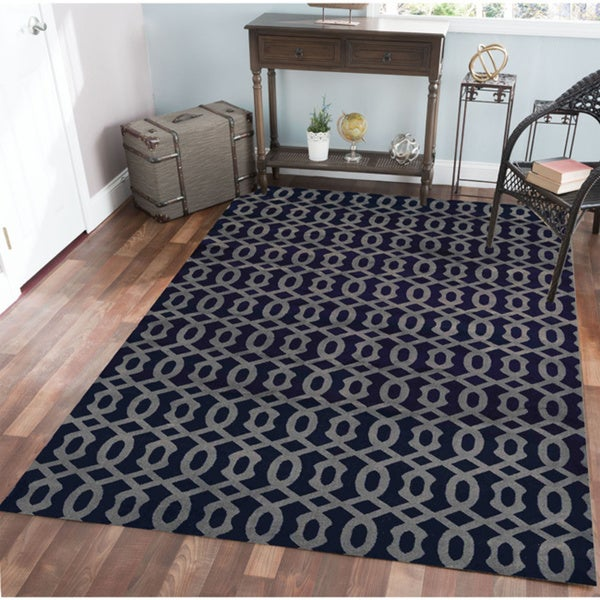 "Admire Home Living Bronte Link Navy Area Rug - 5'3"" x 7'3"""