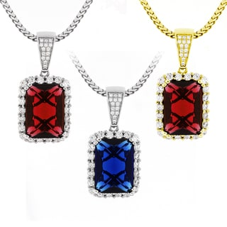 Sterling Silver Men's Radiant-cut Gemstone and Cubic Zirconia Chain and Charm Set