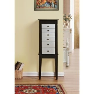 Casual Black and Silver Jewelry Armoire Cabinet Organizer