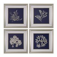 Seaweed On Navy I, II, III, IV' Fine Art Giclee Under Glass Wall Art