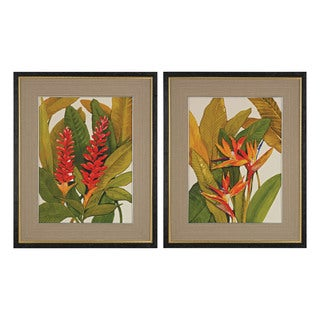 Tropical Bird Of Paradise And Tropical Red Ginger' Fine Art Giclee Under Glass
